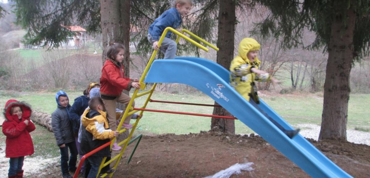 Children in Bosnia enjoy their new playground