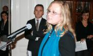 Muslim Aid Country Representative, Edina Sehic, speaking to guests