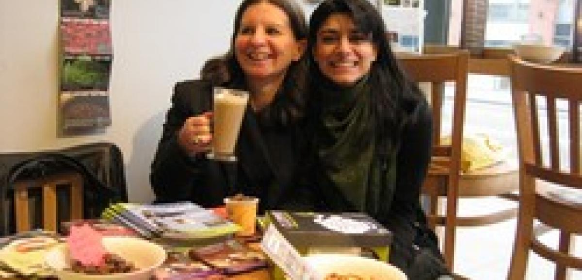 Jan McHarry from the Tower Hamlets Fairtrade group and Maryam Mohsin, Communications Officer for Muslim Aid enjoy a Fairtrade coffee