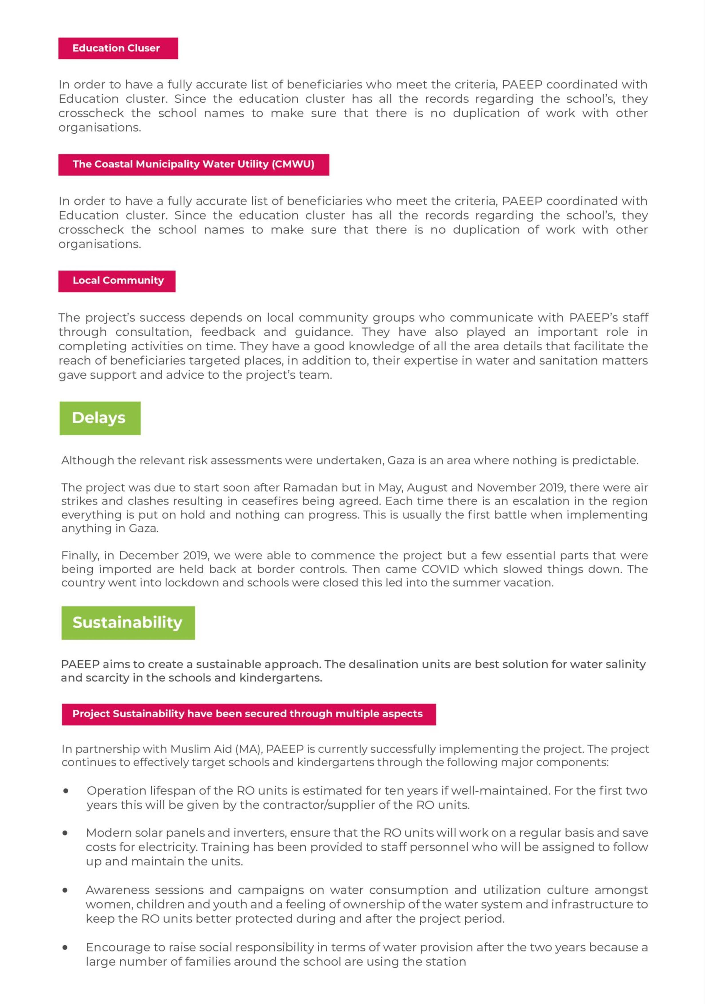 Gaza Water Report Details